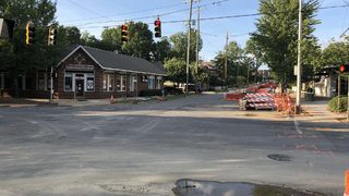 Busy Elizabeth intersection shuts down for trolley line construction