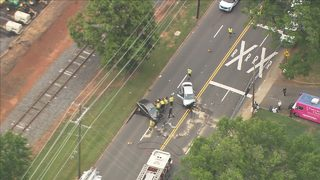 Photos: Suspects shoot at car causing crash at north Charlotte intersection