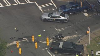 Police: NC trooper on motorcycle hit while pursuing car in west Charlotte